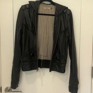 Mike & Chris Black Hooded Leather Jacket